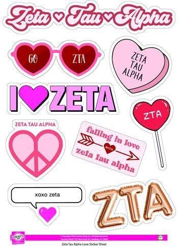 Zeta Tau Alpha Love Theme Stickers