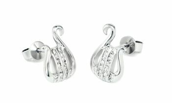 Alpha Chi Omega Sterling Silver Lyre earrings set with Lab-created diamonds