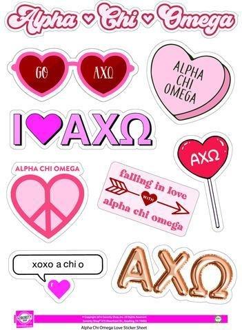 Alpha Chi Omega Love Theme Stickers