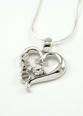 Sterling silver heart pendant with Swarovski clear crystal