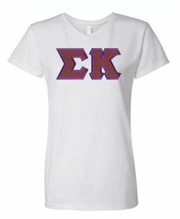 DISCOUNT-Sigma Kappa Lettered V-Neck Tee