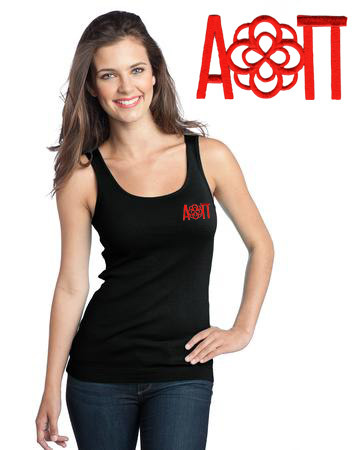 DISCOUNT-Alpha Omicron Pi Emblem Rose Tank Top