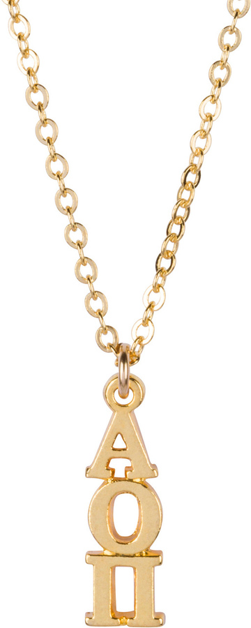 Alpha Omicron Pi 22 k Yellow Gold Plated Lavaliere Necklace - ON SALE!
