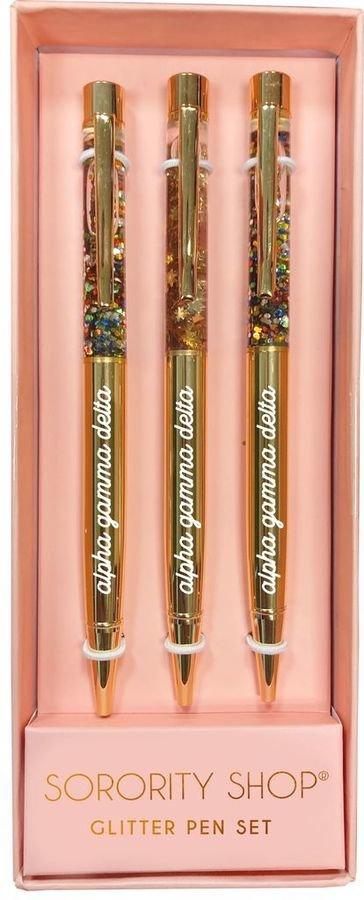 Alpha Gamma Delta Glitter Pens (Set of 3)