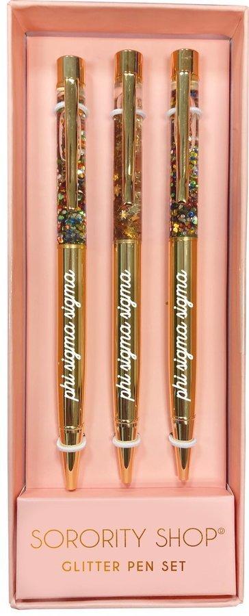 Phi Sigma Sigma Glitter Pens (Set of 3)