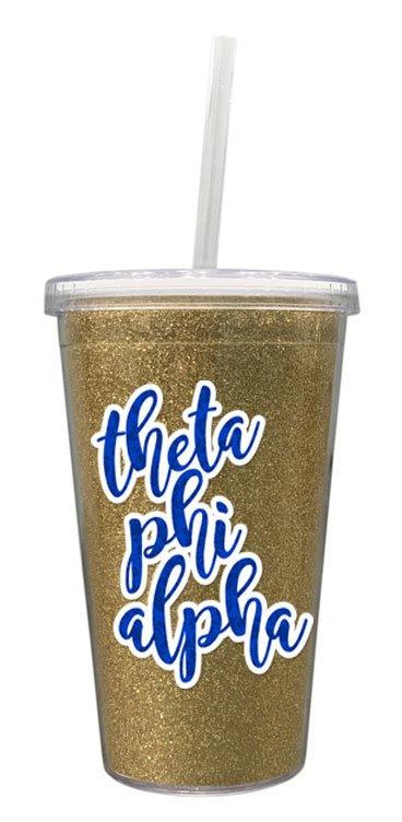 Theta Phi Alpha 16 OZ Sorority Newport Glitter Tumbler