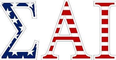 """Sigma Alpha Iota American Flag Greek Letter Sticker - 2.5"""" Tall"""
