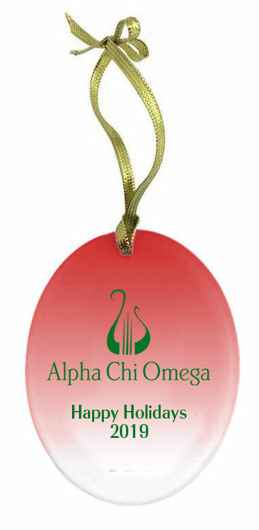 Alpha Chi Omega Holiday Color Mascot Glass Christmas Ornament