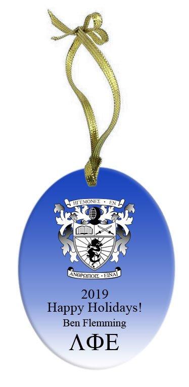 Lambda Phi Epsilon Holiday Color Crest - Shield Glass Ornament