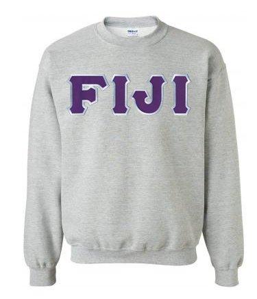 DISCOUNT FIJI Fraternity Lettered Crewneck