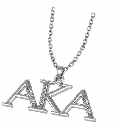 Alpha Kappa Alpha Horizontal Silver Necklace