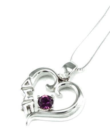 Delta Sigma Pi Sterling Silver Heart Pendant with Swarovski™ Purple Crystal