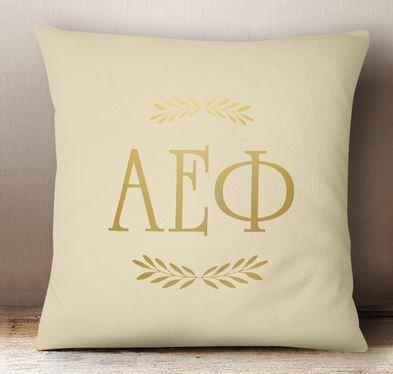Alpha Epsilon Phi Foil Letters Pillow