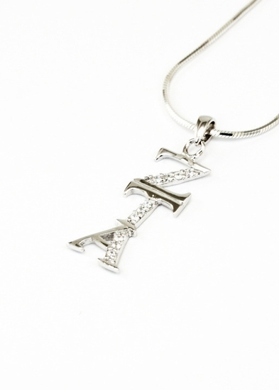 sterling silver vertical lavaliere set with lab created diamonds
