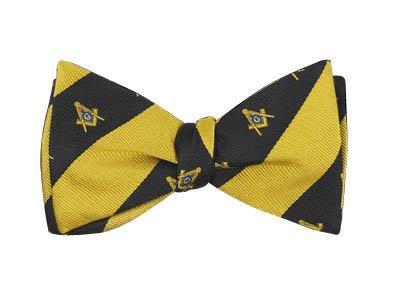 Mason Imitation Silk Bow Tie & Handkerchief Set Black/Gold