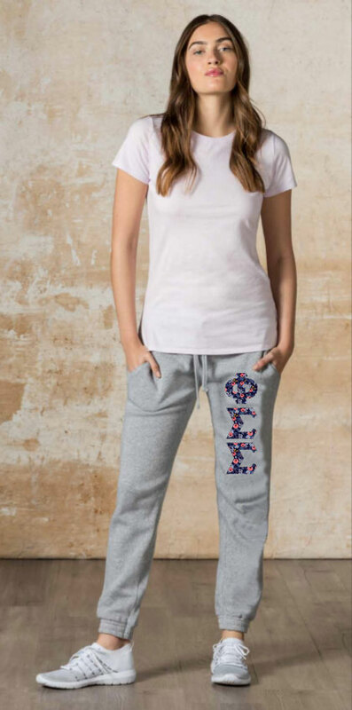 """Phi Sigma Sigma Lettered Joggers (3"""" Letters)"""