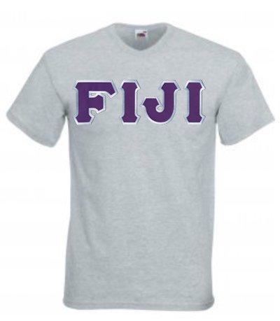 DISCOUNT- FIJI Fraternity Lettered V-Neck T-Shirt