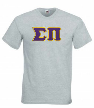 DISCOUNT- Sigma Pi Lettered V-Neck T-Shirt