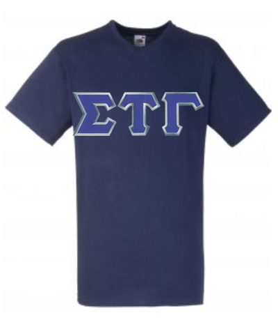 DISCOUNT- Sigma Tau Gamma Lettered V-Neck T-Shirt