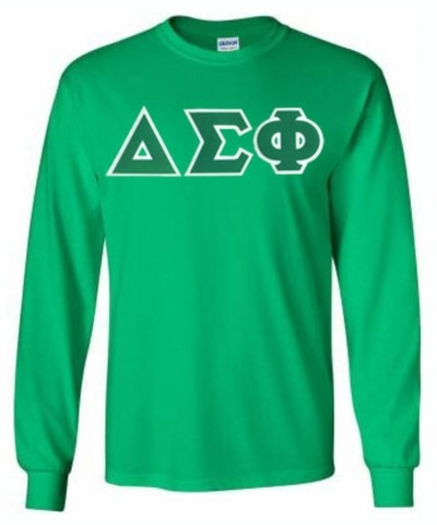 Delta Sigma Phi Lettered Long Sleeve Tee- MADE FAST!