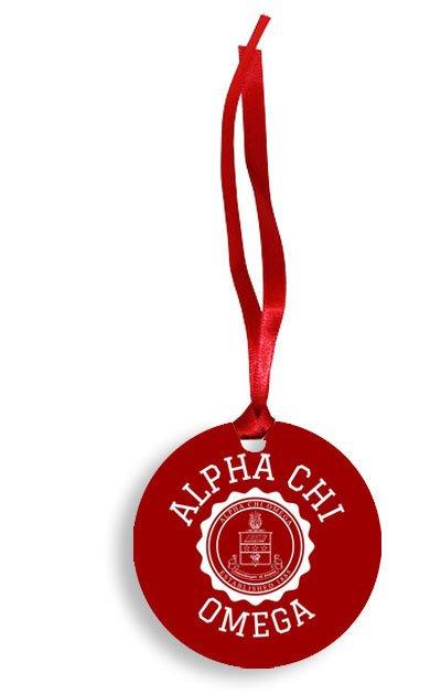 Alpha Chi Omega Christmas Crest - Shield Aluminum Ornament