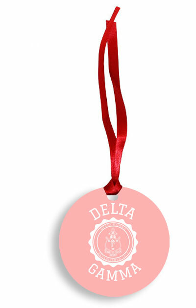 Delta Gamma Christmas Crest - Shield Aluminum Ornament