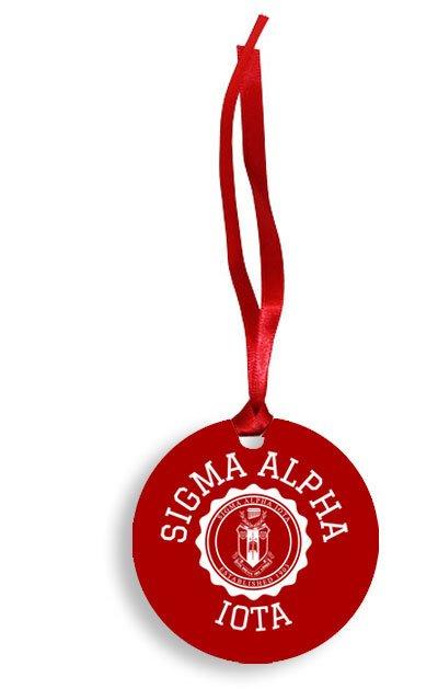 Sigma Alpha Iota Christmas Crest - Shield Aluminum Ornament