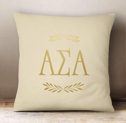 Alpha Sigma Alpha Foil Letters Pillow