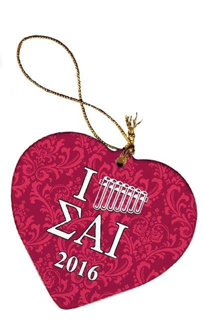 Sigma Alpha Iota Porcelain Heart Christmas Ornament