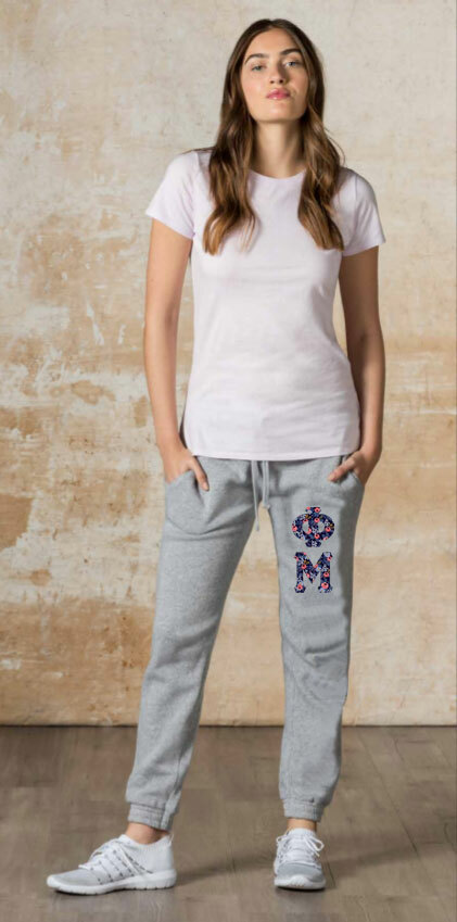 """Phi Mu Lettered Joggers (3"""" Letters)"""