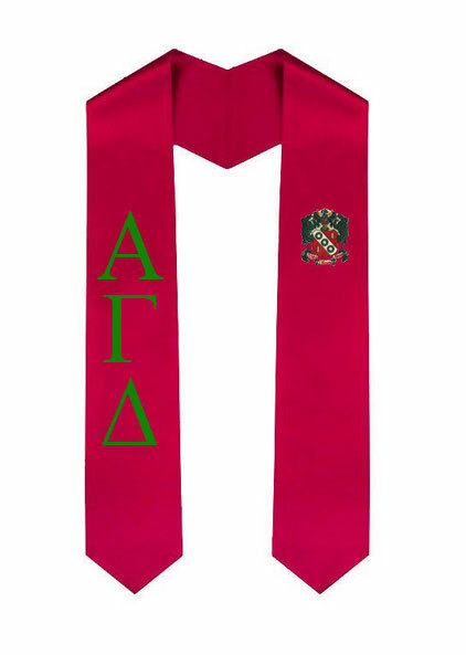Alpha Gamma Delta Greek Lettered Graduation Sash Stole With Crest