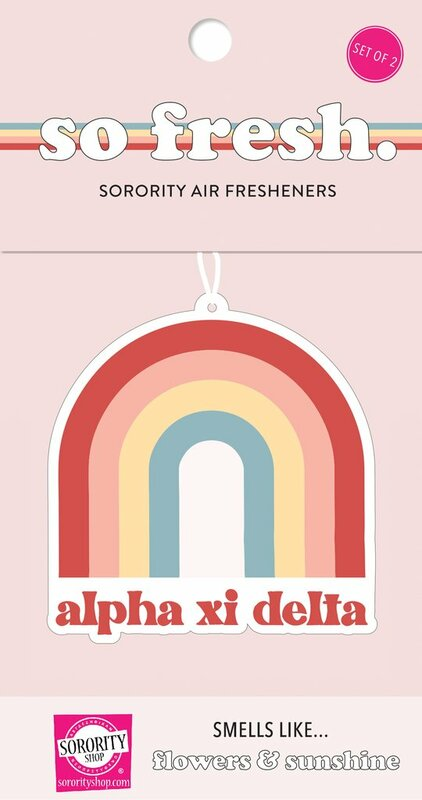 Alpha Xi Delta Rainbow Retro Air Freshener - Flowers & Sunshine Scent
