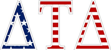 "Delta Tau Delta American Flag Greek Letter Sticker - 2.5"" Tall"