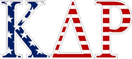"Kappa Delta Rho American Flag Greek Letter Sticker - 2.5"" Tall"