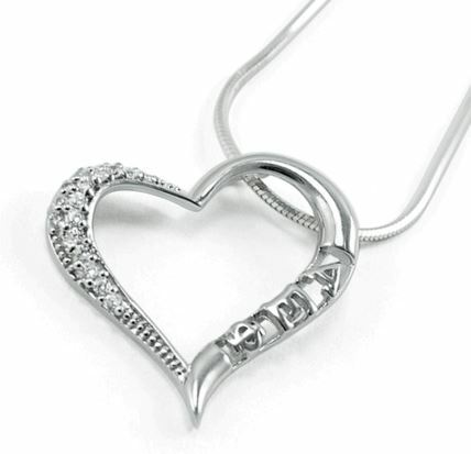Alpha Epsilon Phi Sterling Silver Heart Pendant Lavaliere with lab created diamonds