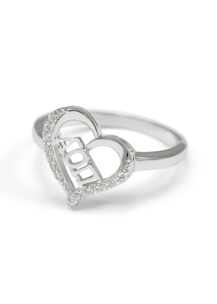 Alpha Omicron Pi Sterling Silver Heart Ring set with Lab-Created Diamonds