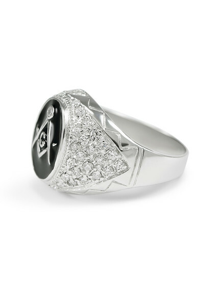 Sterling Silver Mason / Freemason Ring With Oval Face