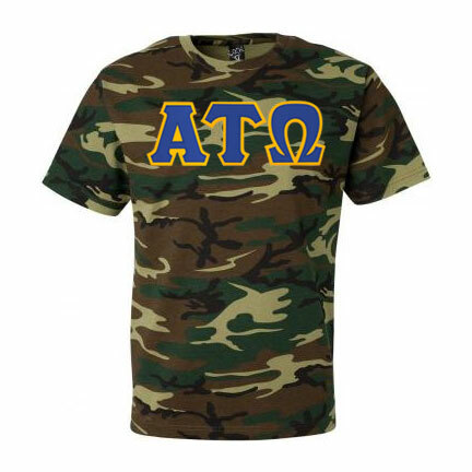 DISCOUNT- Alpha Tau Omega Lettered Camouflage T-Shirt
