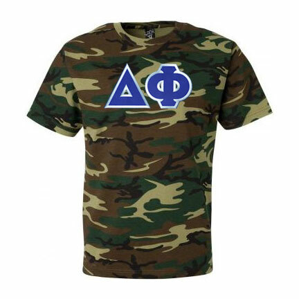 DISCOUNT- Delta Phi Lettered Camouflage T-Shirt