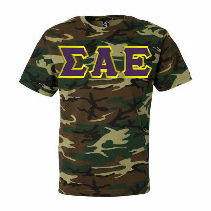 DISCOUNT- Sigma Alpha Epsilon Lettered Camouflage T-Shirt