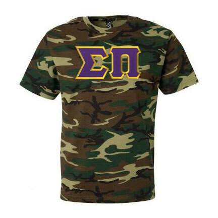 DISCOUNT- Sigma Pi Lettered Camouflage T-Shirt