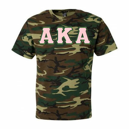 DISCOUNT-Alpha Kappa Alpha Lettered Camouflage T-Shirt