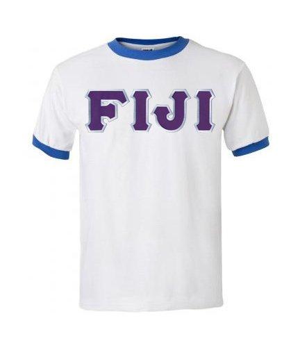 DISCOUNT- FIJI Fraternity Lettered Ringer Shirt