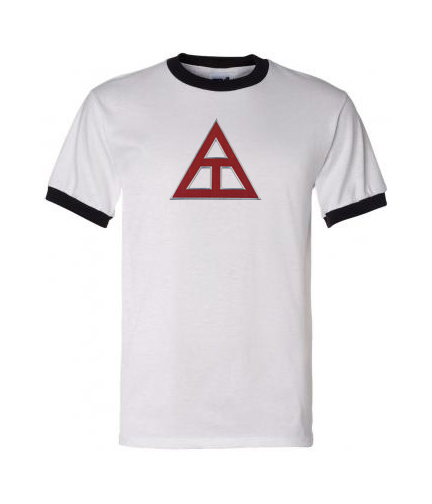 DISCOUNT- Triangle Fraternity Lettered Ringer Shirt