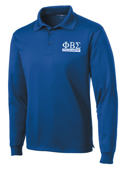 Phi Beta Sigma- $30 World Famous Long Sleeve Dry Fit Polo