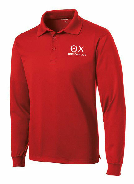 Theta Chi- $35 World Famous Long Sleeve Dry Fit Polo