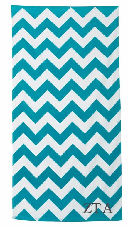 Sorority Chevron Velour Beach Towel