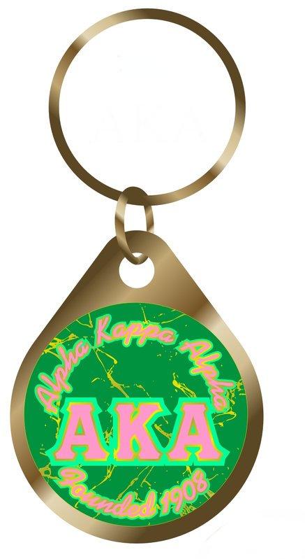 Alpha Kappa Alpha Marble Keychain