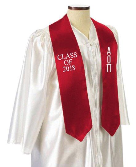 Alpha Omicron Pi Embroidered Graduation Sash Stole