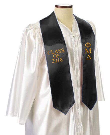 Phi Mu Delta Embroidered Graduation Sash Stole